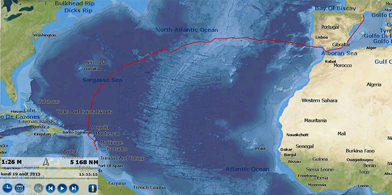 Transort jachtów drogą morską: Przykładowy rejs transatlantycki: przeprowadzanie jachtu na trasie Martynika - Francja (Port Leucate)