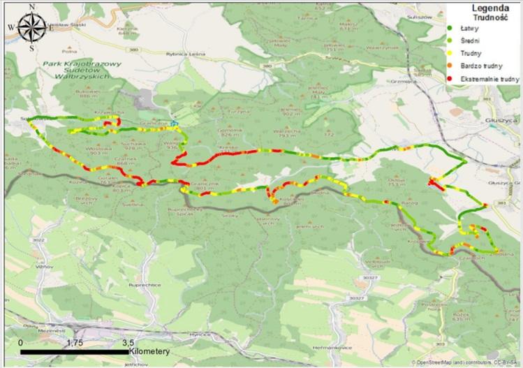 szlak rowerowy mieroszow mapa trudnosci